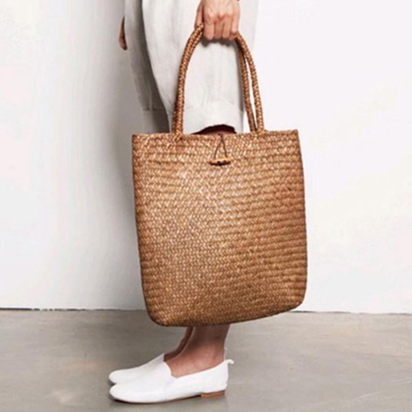 2018 Beach Bag for Summer Big Straw Bags Handmade Woven Tote Women Travel Handbags Luxury Designer Shopping Hand Bags