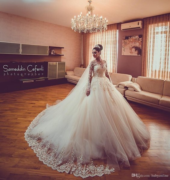 2018 Luxury New Lace Ball Gown Wedding Dresses Sheer Beads Sequined Long Sleeves Court Train Wedding Dress Bridal Gowns robe de mariée