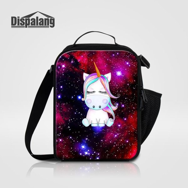 Universe Space Unicorn Brand Designer Fresh Keep Lunch Cooler Bag For Girls Portable Thermal Insulated Lunch Box For School