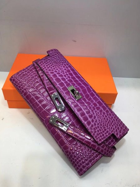 2018 Big brand Alligator Long Wallets Card holders Purse Bags fashion cowhide Genuine leather wallet For Mother's day Gift Molady woman