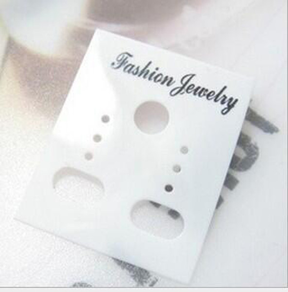 Оптовая продажа 3000pcs / lot 3.5*3 см белый пластик ПВХ мода ювелирные изделия Стад серьги дисплей упаковка карты висит теги можно настроить размер