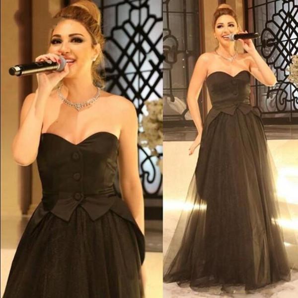 Myriam Fares Black Celebrity Kleider Trägerlos Spezielle Libanon Designer Tüll A Line Korsett Tops Bodenlangen Arabisch Abendkleider Frauen
