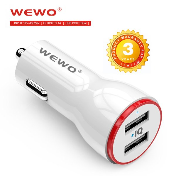 wewo smart car charger dual usb port 2.1a output fast charging for micro usb type c cable phone charger portable travel charger