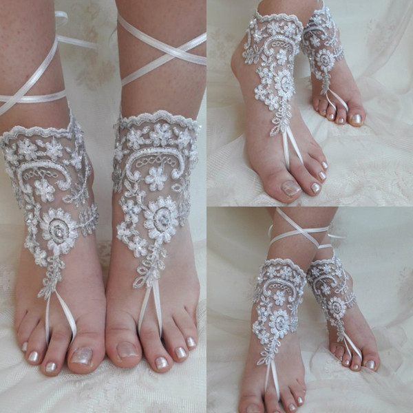 Sexy Ribbon Beach Wedding Shoes Lace Delicate Beaded Open Toe Ankle Strap Flat Bridal Shoe For Summer