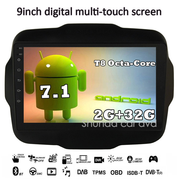 SHUNDA 9inch HD Android 7.1 T8 2G 32G for JEEP RENEGADE Car DVD player with Canbus Radio Navigation 3G 4G GPS WIFI BT RDS free map