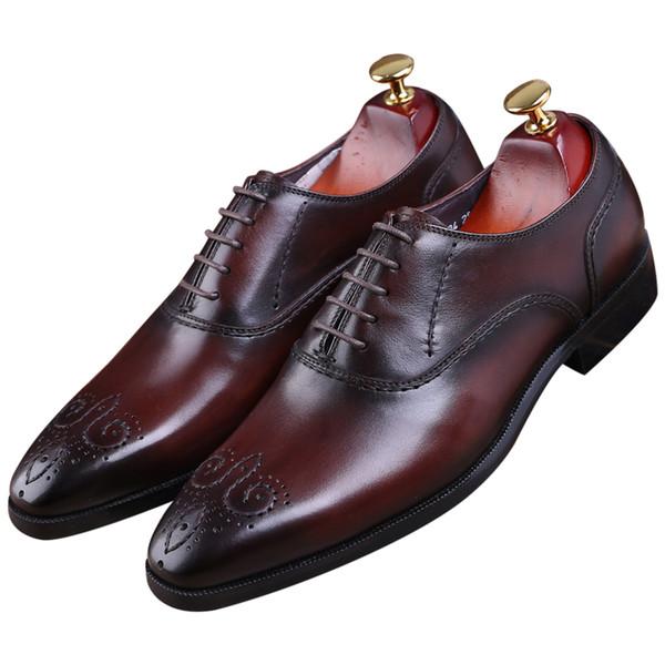 Goodyear Welt ayakkabı siyah / kahverengi tan oxfords mens düğün ayakkabı hakiki deri İş mens elbise