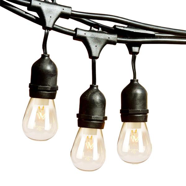 T-XINRONG LED impermeabile esterno String Lights Hanging Vintage Edison lampadine 48ft 15 Hanging Sockets Garden Wedding