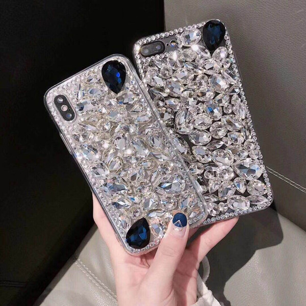 Luxury Fashion Bling Crystal Diamond Case Cover With Pendant For Iphone XS Max XR Female fashion style Crystal cases cover