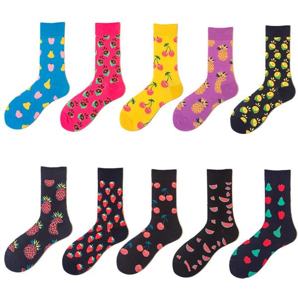 Brand Quality Size 40-47 Men's Socks British Style Lemon Cherry Watermelon Fruit Long Cotton For Happy Trend Men Socks Big Size