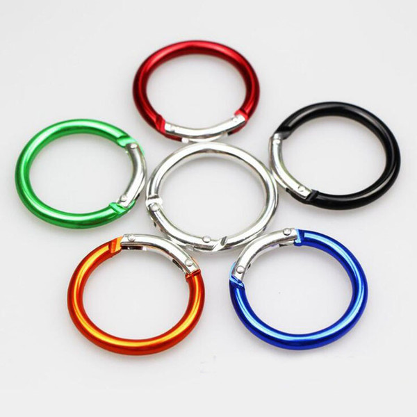 best selling Circle Round Carabiner Camping Spring Snap Clip Hook Keychain Camping Climbing Hiking Outdoor Tools Free Shipping ZA6066