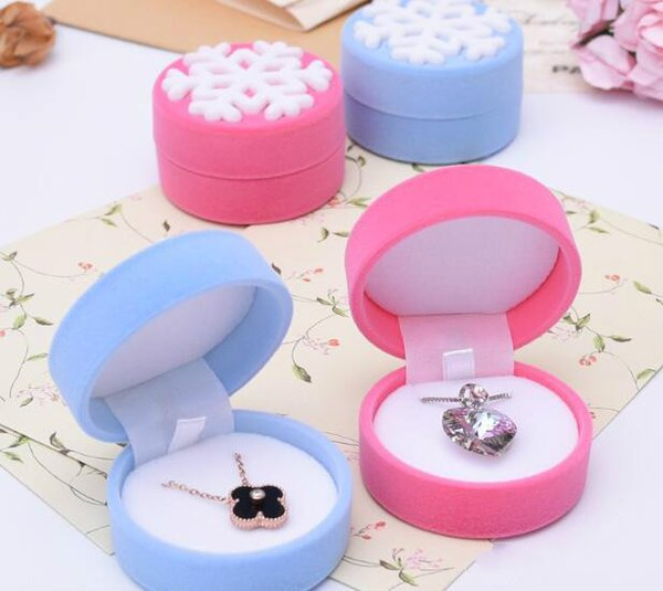 2018 new Fashion Women Ring Necklace Earring Stud Jewelry Box Velvet Snowflakes Display Storage Case Gift Boxes Christmas Wedding