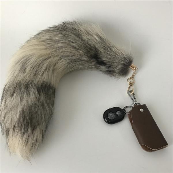 "16""- Real Genuine Golden Island Fox Fur Tail Cosplay Toy Keychain keyring Handbag Accessory"