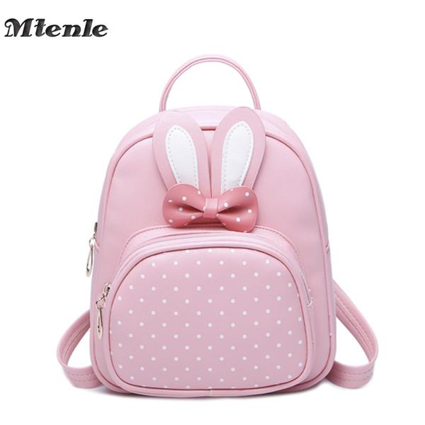 MTENLE Mini Small Backpacks For Teenage Girls Bunny Cute Backpack Women Leather Polka Dot Bow Back Bag Pink Mochila Feminina FI Y18110107