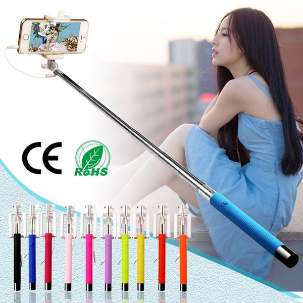 Mini Foldable Tripod Monopod Wired Selfie Stick For iPhone Samsung Handheld Extendable Monopod Cable Built-in shutter Compatible with phone
