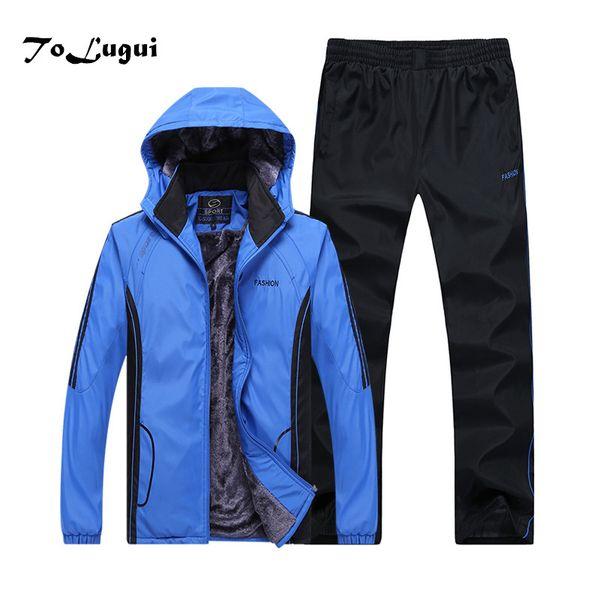 Autumn Winter Tracksuits Men Clothing Thicken Warm Jacket + Pants Suit Sportswear Set Male Hoodie Sporting Suits 2 Piece Set C18110501