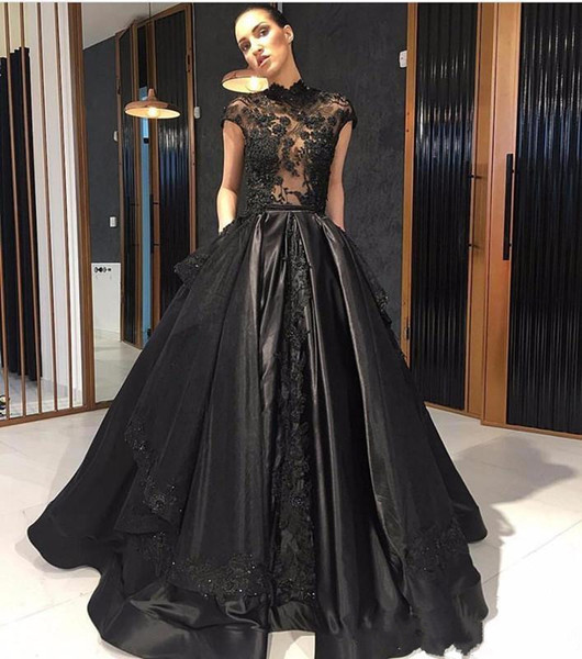 Elie Saab 2018 Black Lace Formal Celebrity Evening Dresses High Neck See Through Red Carpet Prom Party Gowns