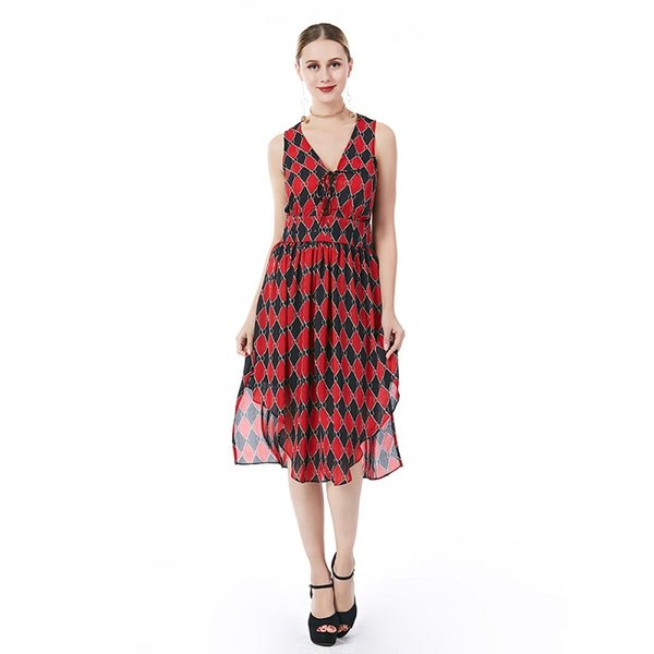 13e7080532 Beauty Garden Women Fashion Diamond Printing Dress Deep V-Neck Sleeveless  Lace Up Red Maxi