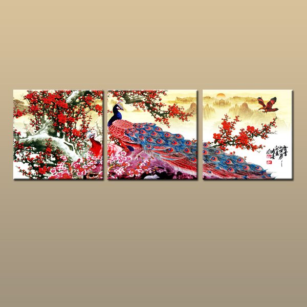 Framed/Unframed Hot Modern Contemporary Canvas Wall Art Print oil painting Design Peacock Bird Picture 3 piece Living Room Home Decor abc30