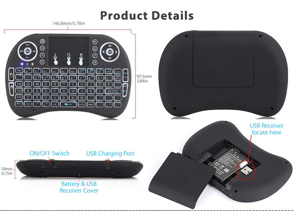 New Arrival Air Mouse In Remote Control I8 Backlit 2.4G Mini Wireless Keyboard With Touchpad for Mini PC Smart TV Box Laptop