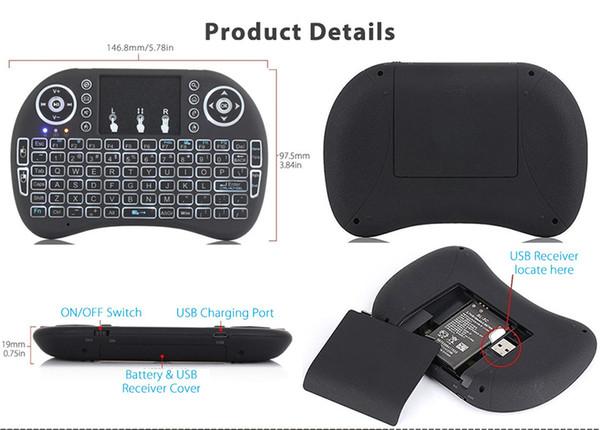 Neue ankunft air maus in fernbedienung i8 hintergrundbeleuchtung 2.4g mini drahtlose tastatur mit touchpad für mini pc smart tv box laptop