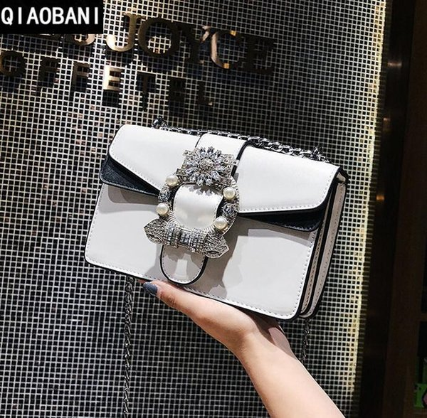 Personality new style collision leather lady chain bag with 100 pairs of double-color Leather Shoulder Bag Fashion diamond hand bag elegant
