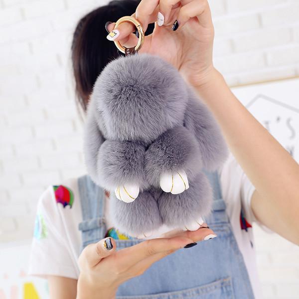 Cute rabbit toy 14 Colors Cute Bunny Keychains 14cm Fluffy Pompom Fur Rabbit Keychain Llaveros Mujer Car Bag Pendants 50pcs OTH238