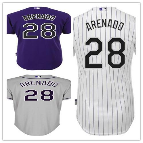 hot sale online cbf76 09737 2019 Men'S Cheap Colorado Nolan Arenado Jersey 28 Nolan Arenado Jersey  Authentic Baseball Jersey Embroidery Logos White Grey Purple Stitched From  ...