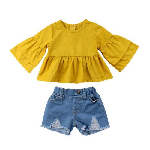 2Pcs Toddle Child Baby Girls Kids Set Outfits Half Sleeve Sleeves Ruffle Tops Shirt Denim Shorts Casual Clothes 6M-4T