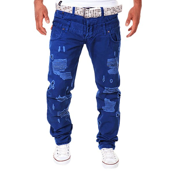 FeiTong Jeans Men 2018 Fashion Denim Pant Casual Solid Loose Patchwork Ripped Hole Trousers Male Cargo Pants