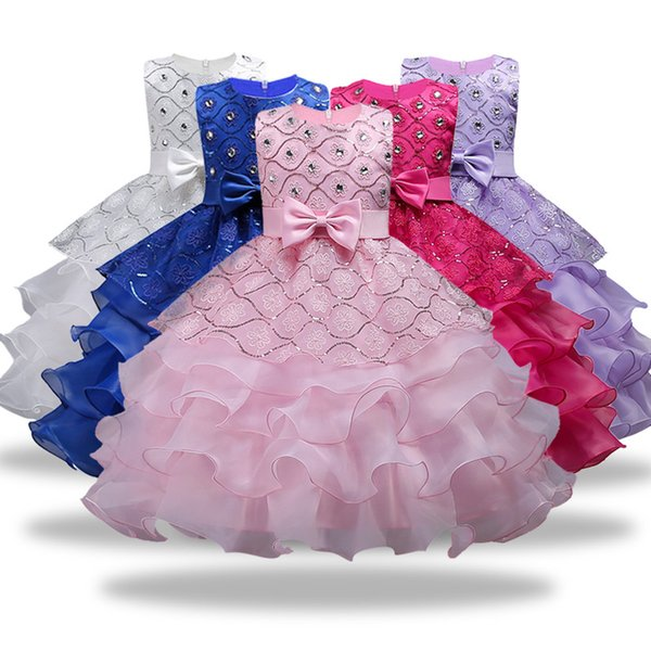 Flower Girls abiti per la festa nuziale Neonate senza maniche Big Bow Princess Dress Bambini Party Abiti Capodanno Natale Dress