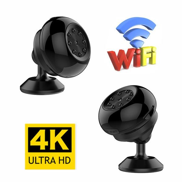 Nova 4 K WiFi Pequenas Câmeras Mini Night Vision Camera Sem Fio Nanny Cam Movimento Ativado Vigilância Câmera de Segurança para Android IOS controle