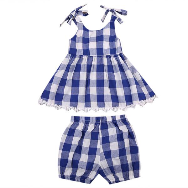 2pcs Kleinkind Kinder Baby Mädchen überprüft Kleid Tops + Shorts Outfits Kleidung Set Geschenke Gürtel Plaid Mode Sommerkleid ärmellos