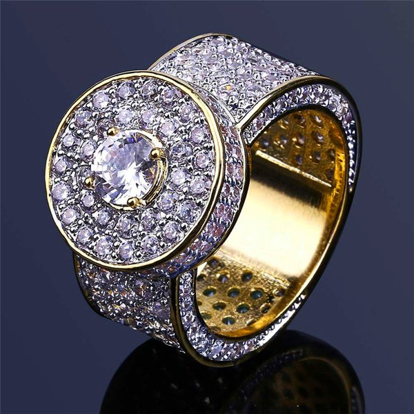 Bling Cubic Zirconia Rings For Men 2018 Hot Luxury 18K Gold Plated Hiphop Jewelry Brand Design Hip Hop Gem Ring Freeshipping