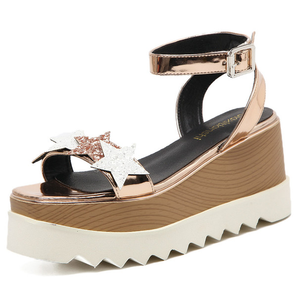 f65941aa35c stars sandals Promo Codes - Women Stars Print Sandals 2018 Fashion Fish  Mouth Platform summer shoes