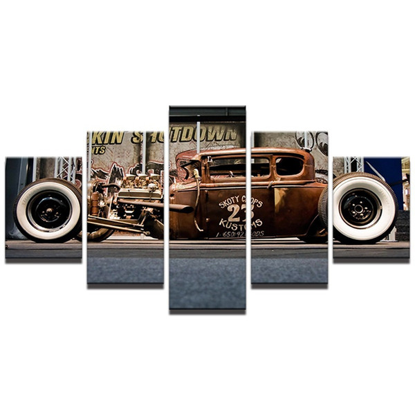 Hot Rod Cars,5 Pieces Canvas Prints Wall Art Oil Painting Home Decor (Unframed/Framed)