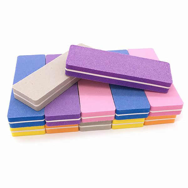 100 pcs/lot 100/180 Nail Files Sanding Polishing Buffer Block Nail Art Tips Manicure Pedicure Tools Mixed Color Mini File