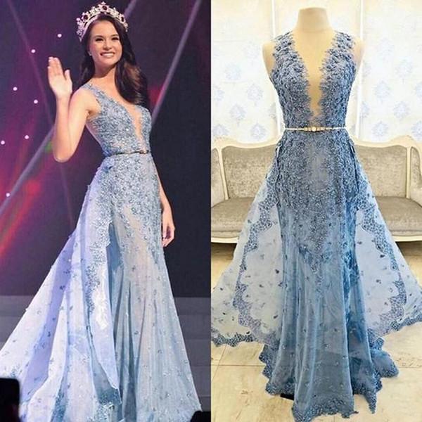 Real Image Hellblau Elie Saab Abendkleider 2019 Appliques Perlen Abnehmbarer Zug Transparent Formale Festzug Kleider Celebrity Dress