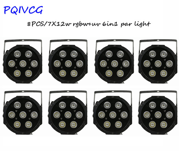 8PCS / 7x12w RGBWA + UV 6in1 LED Par Light DMX512 Flat Light alluminio professionale Stage DJ Discoteca Attrezzature