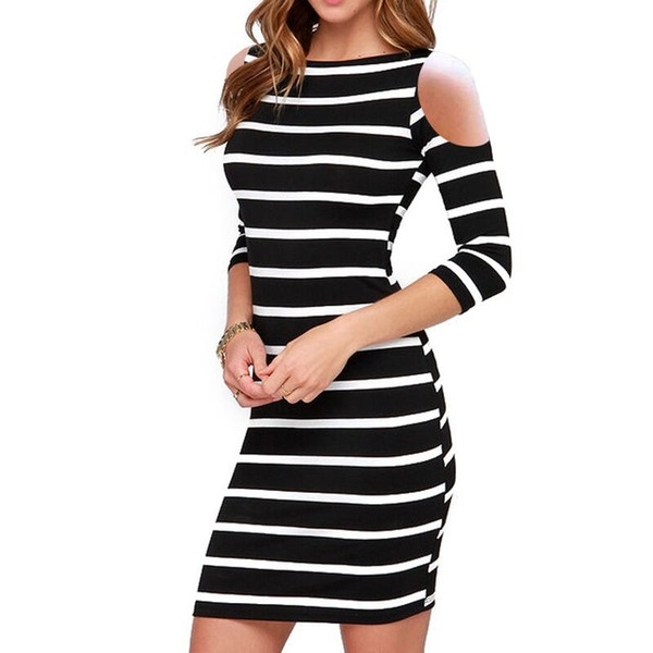 New Autumn Long Sleeve Party Dresses European Fall Custom Fit 2018 Sexy Club Slim Lady High fashion Bodycon Striped Dress for Women