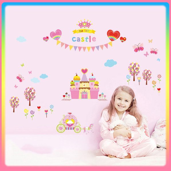 Bulk Lots Fancy THE FAIR CASTLE Wall Stickers Wallpaper Paper Peint 3d Home Decor Bathroom Kitchen Accessories Household Suppllies