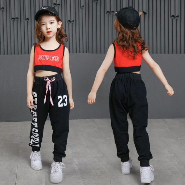 Kids Ballroom Hip Hop Dance Competition Costumes Clothes Suits Girl Modern Jazz T Shirt Pants party Dancing Clothing Outfits