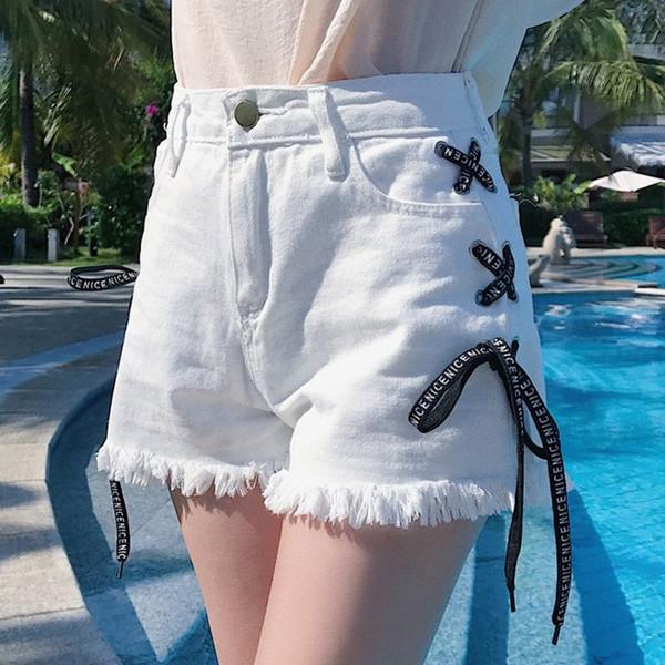 Female Bandage Side Denim Shorts Women Short Jeans 2018 Summer Holiday Denim Shorts Blue Ripped Tassel Short Hotpants Femme S-XL