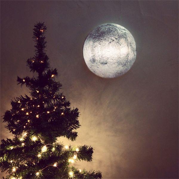 Entspannende Simulation Mond Wandleuchte mit Fernbedienung Indoor / Outdoor Heilung Mond Nachtlicht für Gang Schlafzimmer Korridor Veranda