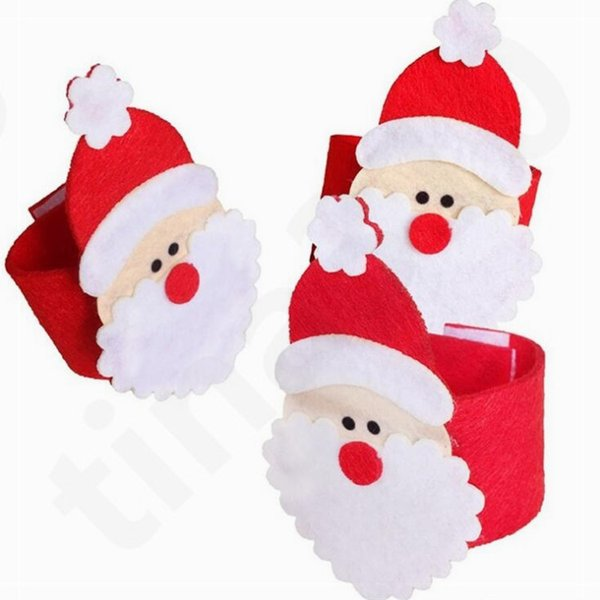 Christmas Napkin Holder Santa Claus Ring Christmas Decorations Napkin Rings Hotel Table Scene Nonwoven Fabric Napkin Ring T7I756