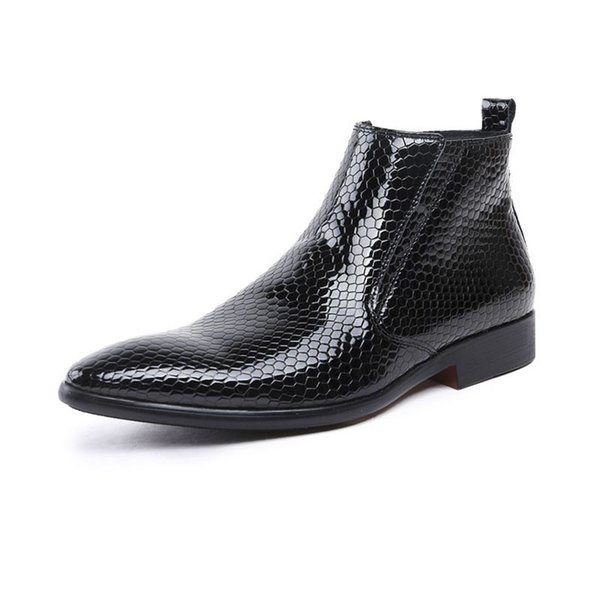 Großhandel GRIMENTIN Herren Lackleder Stiefel Heißer Verkauf Marke Spitze Schwarze Formale Business Herren Stiefeletten Mode Kleid Herren Lederschuhe
