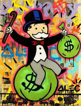 Handpainted & HD Print Alec Monopoly Graffiti Pop street Art Oil Painting Money Bag on Canvas office Wall art culture Multi Sizes g284