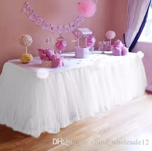 Free Shipping Wedding Table Skirt Table Decoration Accessories Tulle Tutu Table Skirt Baby Shower Birthday Party Decorations Kids ARI-177