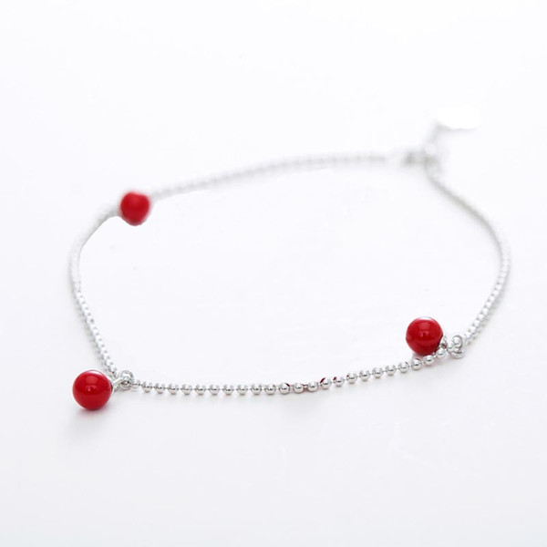 Red Trees Brand Fine Accessories Fashion Cute Red Agate Foot Bracelets Girls 925 Sterling Silver Women's Anklet Jewelry