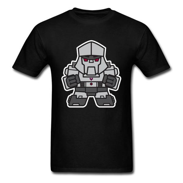 Mitesized Mega T Shirt Printed For Man Robot Cartoon Clothes Summer Breathable Tops Cotton Tees Mens Black T Shirts
