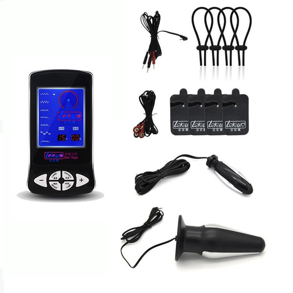 Electric Shock Kit Electro Shock Penis Ring Massage Paste Pad Anal Butt Plug Electric Sex Medical Themed Sex Toys For Men